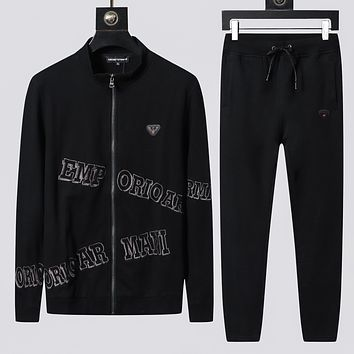 Armani Casual Simple Men Cardigan Jacket Coat Pants Drawstring Trousers Set Two-Piece