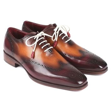Paul Parkman Bordeaux & Camel Wingtip Oxfords Shoes (ID#097BY30)