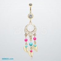 Golden Enchanted Dream Catchers Belly Button Ring