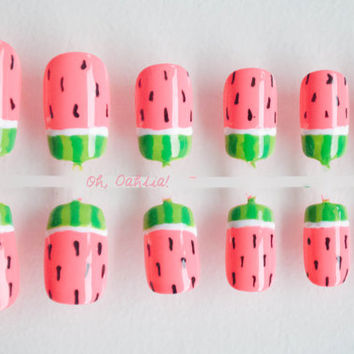 Ready Painted Watermelon Nails, False Nails, Artificial Nail Set