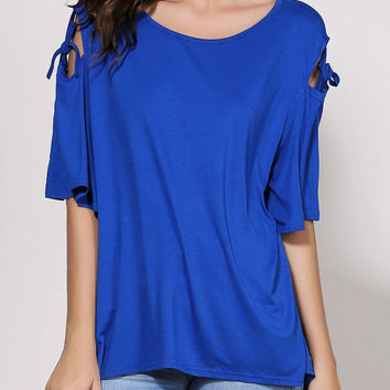 Solid Color Cut-Out Sleeve Loose Top