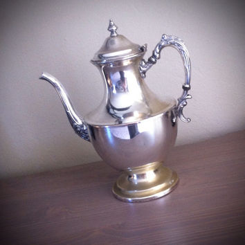 Antique Hartford Sterling co silver on copper tea pot, silver plate teapot, silver serving, large teapot