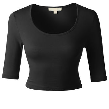 LE3NO Womens Lightweight Fitted 3/4 Sleeve Scoop Neck Crop Top (CLEARANCE)