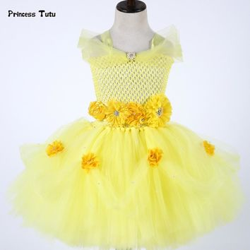 Belle Princess Dress Newborn Baby Girl Tutu Dress Tulle Baby Toddlers 1 Year Birthday Dress Party Beauty Beast Cosplay Costume
