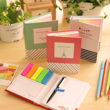 80pages 11.5X8cm size Cute Kawaii post it Stickers with pen Bookmark Flags Memo Sticky Notes Pads Stationery gifts Free shipping