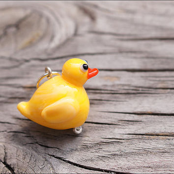 Rubber duck handmade lampwork bead/ Rubber ducky/ Baby shower