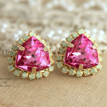 Pink Green Mint Opal Rhinestone Crystal stud earring bridal earrings - 14k 1 micron Thick plated gold earrings real swarovski.