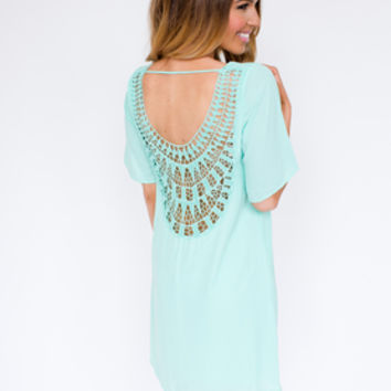 Mint Crochet Back Shift Dress