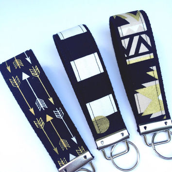 Black and Gold Key Fob Keychain/Arrows Key Fob/Aztec Key Fob/Black and White Stripes Key Fob/Key Chain Wristlet/BEST SELLER