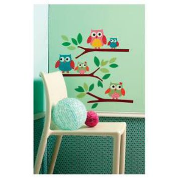 Owls Big Wall Peel & Stick Wall Decal Multicolor 1 Sheet - Wallies® : Target