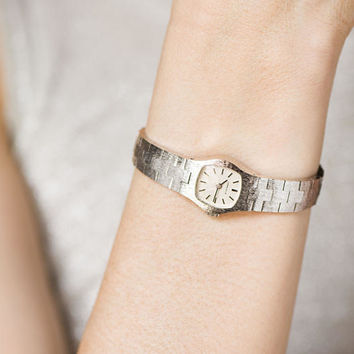 Cocktail wristwatch bracelet Caravelle, women's watch small wrist, silver shade watch delicate, Swiss movement watch woman gift graduation