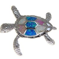 INLAY TRICOLOR OPAL HAWAIIAN SEA TURTLE PENDANT 925 STERLING SILVER LARGE 35MM