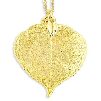 24k Gold Dipped Aspen Leaf W/ Gold-Plated Necklace