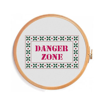 Danger Zone  - Funny cross stitch pattern - Instant download PDF Pattern - red - embroidery designs - cross stitch letters