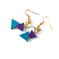 Leather triangle earrings in purple, turquoise and gold