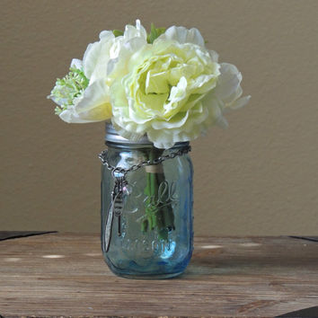 Blue tinted mason jar, mason tumbler, wedding mason jars