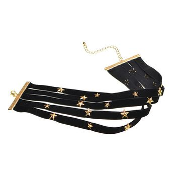 Women Punk Multi-storey Choker Necklace Fashion Round Handmade Retro Jewelry