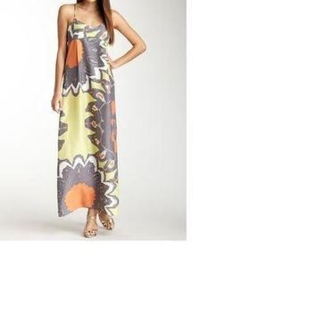 NWT Susana Monaco Alla Gray Silk Print Maxi Dress in Gull, Size 4