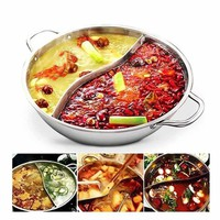 DCCKFS2 Hot Pot Twin Divided Stainless Steel 28cm Cookware Induction Little Sheep Hot Pot Ruled Compatible Soup Stock Pots Home Kitchen