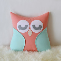 Mint and coral owl pillow - Owl pillow - Baby girl pillow - Mint and Coral - Nursery Decor - Custom Pillow