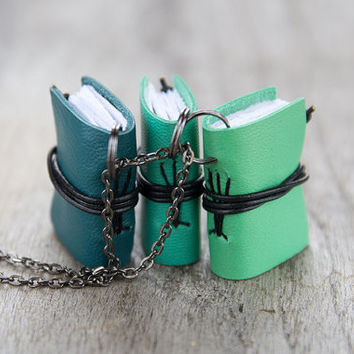 Spring jewelry, miniature book necklace, mini book jewelry, tiny book pendant, journal necklace, leather eco friendly necklace literature