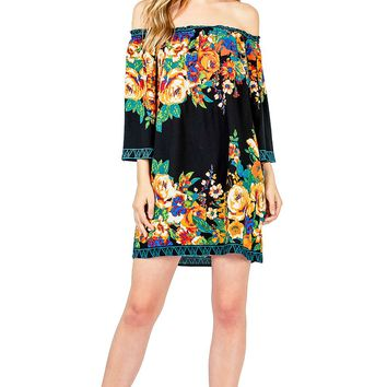Floral Market Off Shoulder Dress