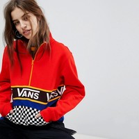 Vans Exclusive Half Zip Jacket In Colour Block With Checker Board Pocket at asos.com