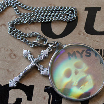 Unisex Hologram Skull and Crucifix Necklace by HellRazor on Etsy