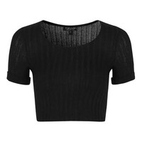 Knitted Roll-Back Crop