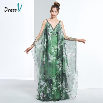 Dressv a line printing long prom dress v neck backless beading sleeveless zipper up formal elegant floral print prom party dress