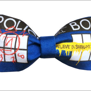 SuperWhoLock Inspired Supernatural Doctor Who Sherlock Geeky Fabric Hair Bow