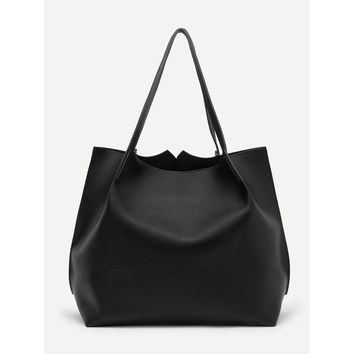 Black Pom Charm Tote Bag