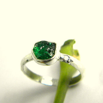 ef42d3309 Tsavorite ring sterling silver - rough raw tsavorite crystal, gr
