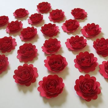 "24 Red Carnations, 1.5"" Scalloped Rose Paper Flowers, Small Table Scatter Decor"