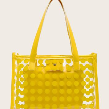 Polka Dot Clear Tote Bag With Inner Clutch