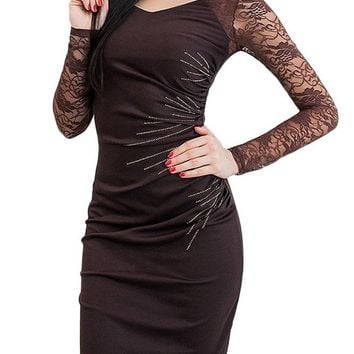 B| Chicloth Lace Sleeves Ruched Side Back Slit Pencil Dress