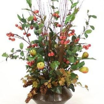Crabapple Sprays, Feathers, Pine Cones, Greenery In Riveted Metal Planter