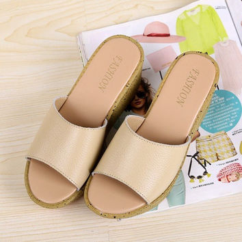 Leather Pure Color Peep Toe Slip On Beach Outdoor Platform Sandals