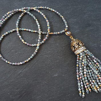 Ethnic Turkish Tassel Necklace Sparkly Gray Statement Gypsy Hippie Bohemian Artisan - One Of A Kind