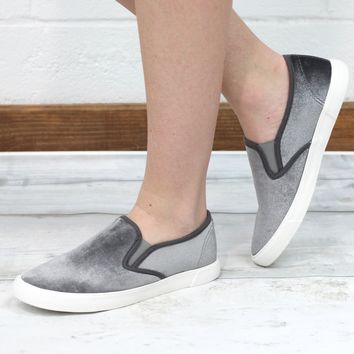 Velvet Crush Slip On Sneakers {Grey}