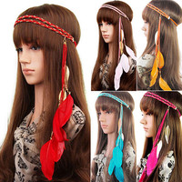 Fashion Indian Peacock Hair Accessories Feather Tassel Headband Metal Leaves Rope Knitted Belt Elastic Hairband