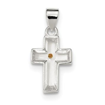 Sterling Silver Enameled with Mustard Seed Cross Pendant QC6700