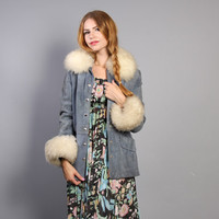 1970s LEATHER JACKET / Pale Blue Suede with Huge Fur Collar & Cuffs, xs-s