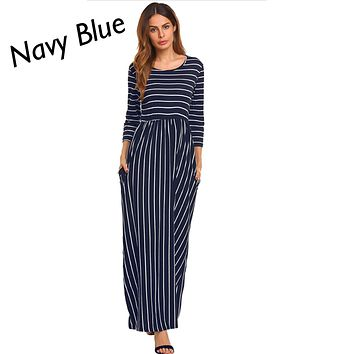 Navy Blue Striped 3/4 Sleeve Maxi Dress, Sizes Small - 2XLarge