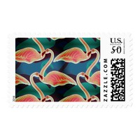 Vibrant multi color flock of swans in water postage