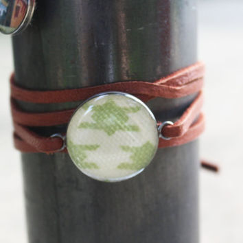 Houndstooth Leather Wrap Bracelet - hounds tooth lime green sterling silver resin charm on brown strap - vintage fabric jewelry