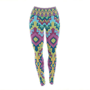 "Amanda Lane ""Boho Chic"" Purple Yellow Yoga Leggings"