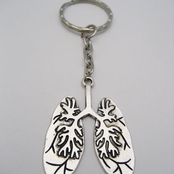 Human Lungs Keychain Science Keychain Biology Keychain Anatomical Keychain Anatomy Keychain Biology Gift