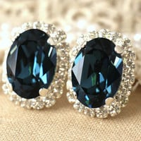 Blue Navy Silver stud earrings Dark Blue earrings Dark blue Swarovski earrings Blue Denim stud earrings Prom jewelry Bridal jewelry.