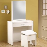 3 piece glossy white finish wood make up vanity set with storage mirror and storage stool